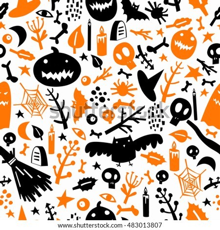 Seamless pattern on the theme of Halloween with pumpkins, ghosts, bats, skulls, bones, eyes, branches, candles and spider web. #483013807