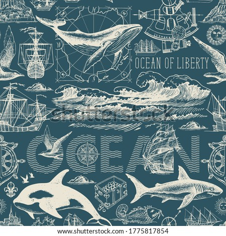 Seamless pattern on the theme of sea travel, adventure, discovery. Vector abstract repeating background with hand-drawn ocean waves, sailboats and various sea inhabitants in retro style
