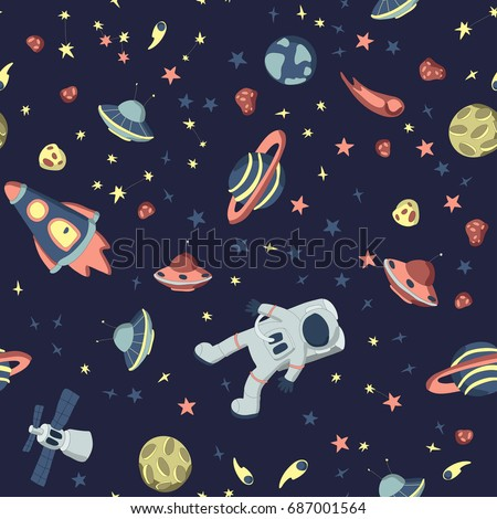 Seamless pattern on the theme of space. Astronaut in open cosmos, space ships and a set of various planets, stars and asteroids. Vector illustration on dark background.