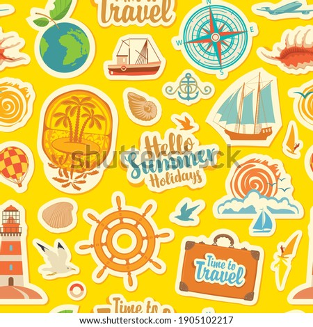 Seamless pattern on the theme of summer holidays, vacations and travel. Repeating vector background with stickers or magnets. Set of sea summer icons on a yellow backdrop in flat style