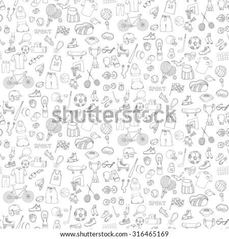 Seamless pattern on transparent background. Hand drawn doodle sport set. Vector sketchy sport related icons, tennis, golf, baseball, basketball, football, soccer, volleyball, rugby, hockey, fitness, boxing, running, bicycle