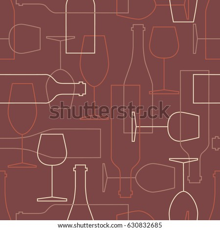 Seamless pattern, pack paper with wine bottles and wine glasses icons. Modern thin line icon, flat style. Background or backdrop with winery elements collection. Colorful wallpaper, good for printing