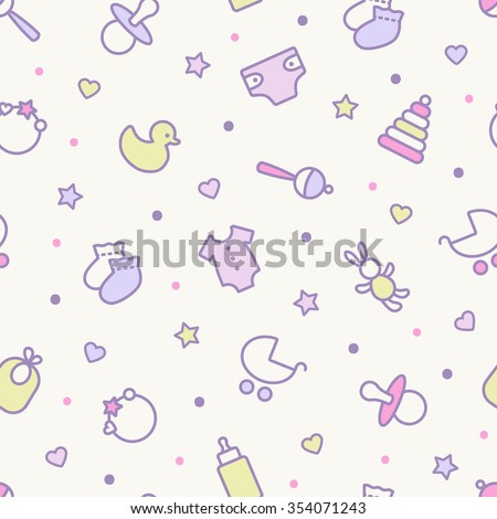 Seamless pattern. Pastel colors. Thin line icons of baby items. Also for printing on paper and fabric.