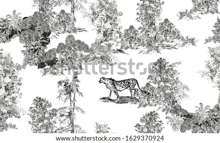 Seamless Pattern Pastoral Romantic Landscape, Toile Lithography Illustration, WildLife Leopard Animal in Trees, Black and White Drawing, Frech Romanticism Engraving Wallpaper Design Stok fotoğraf ©