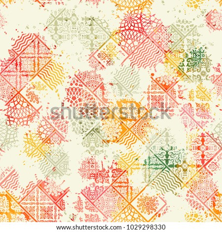 Seamless pattern, patchwork tiles. Can be used on packaging paper, fabric, background for different images, etc. Freehand drawing