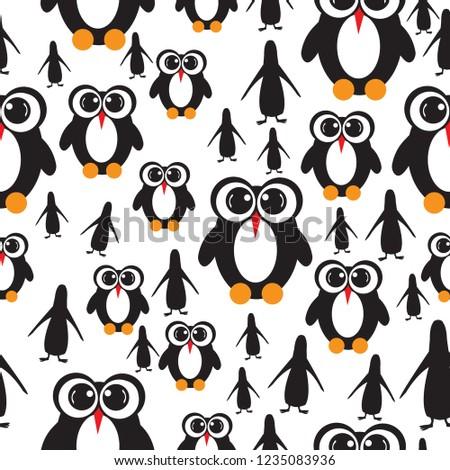Seamless pattern penguin with large eyes; flat design