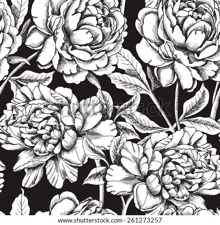 Black and white floral background vector download free vector art seamless pattern peony flower black white mightylinksfo