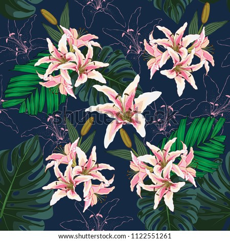 Seamless pattern pink lilly flowers,Green monstera and palm leaves on dark blue background.Vector illustration watercolor style.For used wallpaper design,textile fabric or wrapping paper