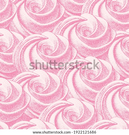 seamless pattern, pink meringues, marshmallow. Vector in graphic vintage retro. sweetness, sweet cake, dessert. for cafe, sweet shop, confectionery. ストックフォト ©