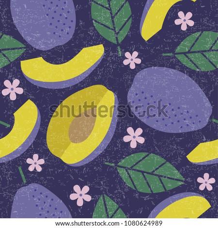 seamless pattern plum juicy