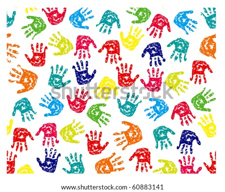 Seamless pattern, prints of hands. EPS v. 8.0
