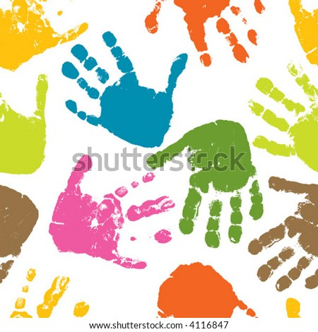 Seamless pattern, prints of hands of the child, vector illustration