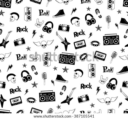 seamless pattern punk rock