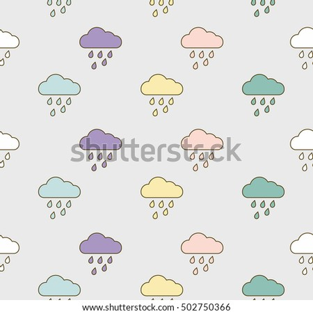 seamless pattern  rain and...