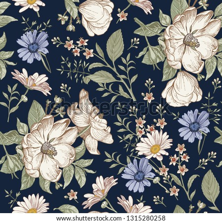 Seamless pattern Realistic blooming isolated flowers Vintage fabric background. Rose hip dog rose brier chamomile croton wildflowers. Wallpaper baroque Drawing engraving. Vector victorian Illustration