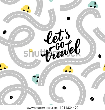 seamless pattern road with baby