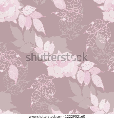 Seamless pattern rose with leaves. Vector background.