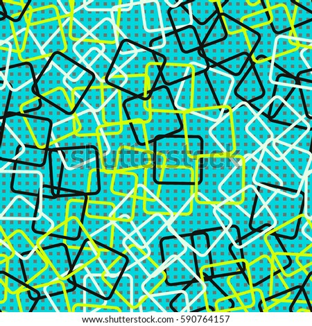 Seamless pattern. Rounded rectangles. Checkered background. Grungy textiles. Children's wallpaper. Random order. Colourful chaos. #590764157