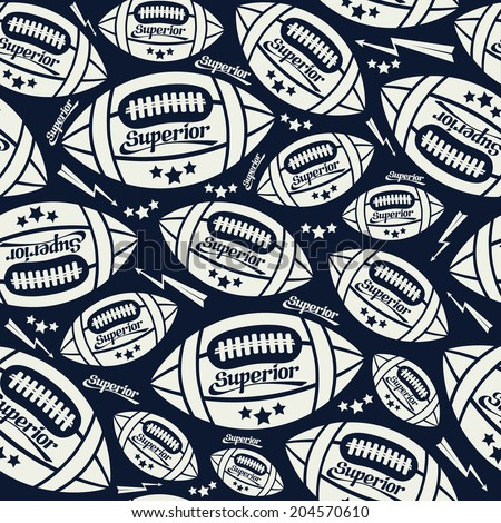 Seamless pattern rugby ball in comic style. White pattern on a dark blue background