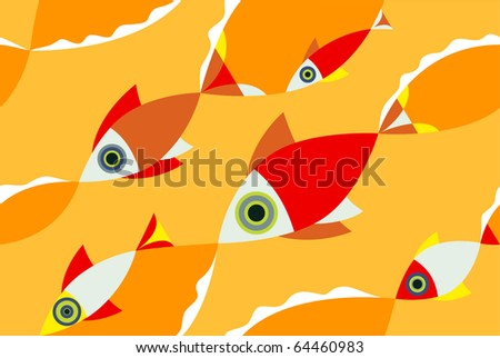 Seamless pattern school of Fish.
