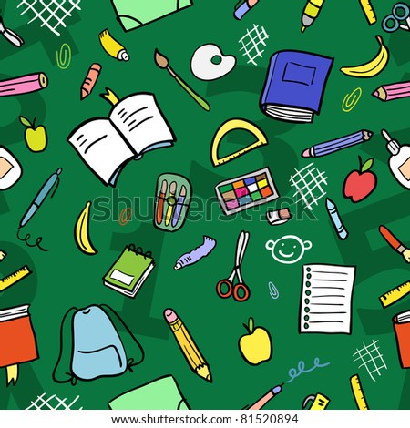 Seamless pattern: school supplies (color). Vector illustration