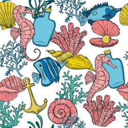 Seamless pattern. Sea shell, seaweed, anchor, seahorse, and fish. Hand drawn underwater creatures.