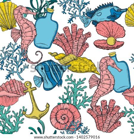 seamless pattern sea shell