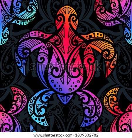Seamless pattern - sea turtle in indigenous tribal Polynesian style. Maori tattoo design.