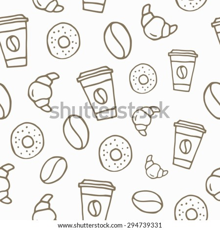 Seamless pattern - Seamless background - Sketch - Sketch drawn by hand - Coffee - Food - Drink.