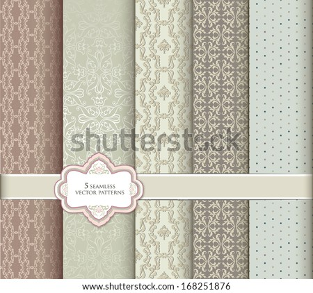 Seamless Pattern Set In Retro Style. Abstract Vector Textured Backgrounds For Scrapbook.