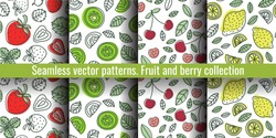 Seamless pattern set. Juicy fruit and berry collection. Strawberry, kiwi, cherry, lemon. Hand drawn color vector sketch background. Colorful doodle wallpaper. Summer print