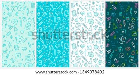 Seamless pattern set of Medical flat line icons and Pharmacy symbols of First aid kit, pils, thermometer, vitamins. Medicine and Pharmacy elements outline icons isolated on white background