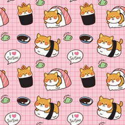Seamless pattern Shiba inu sushi with wasabi and soy sauce hand drawn background.Cartoon animal character design.Kawaii.Dog doodle.Can be use for card,poster,banner.Japanese food.Vector.Illustration.
