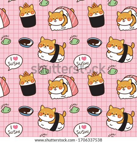 Seamless pattern Shiba inu sushi with wasabi and soy sauce hand drawn background.Cartoon animal character design.Kawaii.Dog doodle.Can be use for card,poster,banner.Japanese food.Vector.Illustration. Stock photo ©