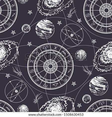 Seamless pattern. Signs of the zodiac, ecliptic, stars, galaxies and planets. Astrological background.