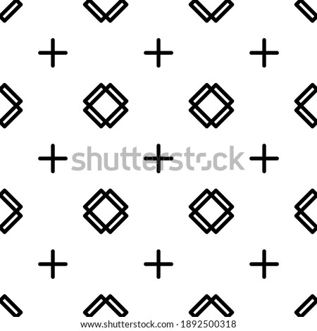 Seamless pattern simple outline with cross rectangle and plus symbol. suitable for fashion, background, decoration, etc.