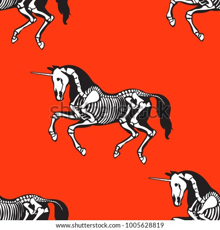 Seamless pattern. Skeleton of a unicorn on a red background. Great for printing on T-shirts, for tattoos and more. Ideal for decoration of Halloween and the day of the dead.