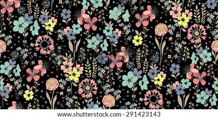 seamless pattern sketch flowers