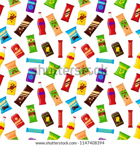 Seamless pattern snack product for vending machine. Fast food snacks, drinks, nuts, chips, juice for vendor machine bar on white background. Flat illustration in vector