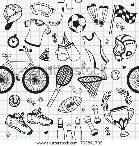 Seamless pattern Sport fitness hand drawn vector illustration