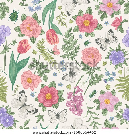 seamless pattern spring and