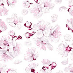 Seamless pattern spring flowers of fruit trees on light background. Flowers of apricot, cherry, pear, apple, peach, pink and white sakura. Realistic, vector plants for fabric, prints, poster, cards.