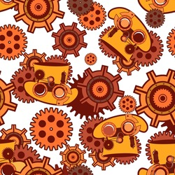 seamless pattern Steam punk mechanism with metal parts in the spare parts