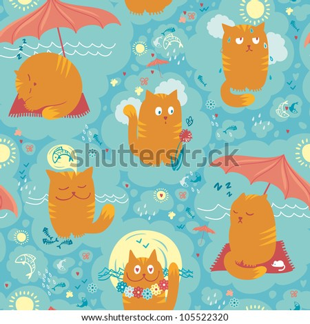 Seamless Pattern - Summer Cats