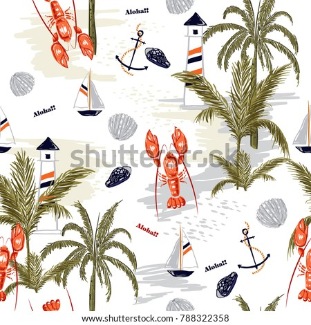 Seamless pattern summer tropical island of mediterranean with lobster shell ,lemon,anchor, for fashion fabric,wallpapre,webpage on white in hand drawn style.