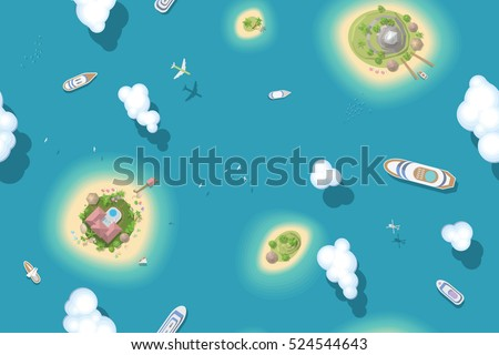 Seamless pattern. Summer vacation. The islands and ships. (top view)  Vector illustration. Time to travel - sun, sea, island, sand, yacht, airplane, palm, clouds.. (view from above)