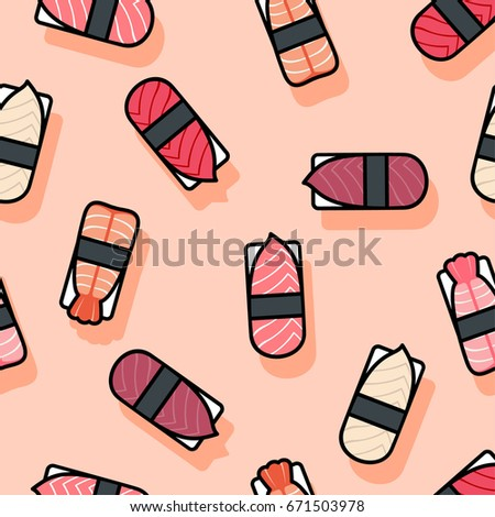 Seamless pattern. Sushi icons. Kawaii sushi and nigiri on a pink background.