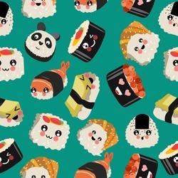 Seamless pattern. Sushi kawaii. Sea food. Green background. Vector hand drawn