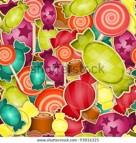 seamless pattern -  sweet candy on  colored  background - vector illustration