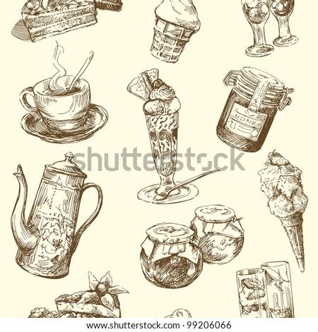 seamless pattern - sweets, coffee